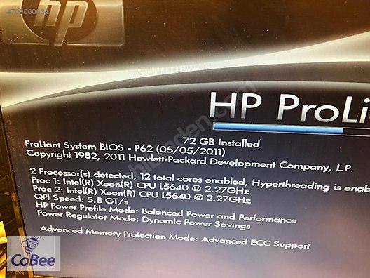 Btekipman dan HP DL380G7 sunucu / 12 core /24 ht / 72 gb ram