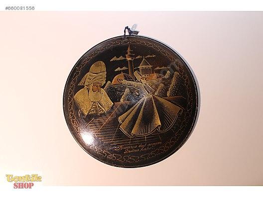 Antika Bakır üzeri El Boyama Mevlana Tabakçok Dekoratif At