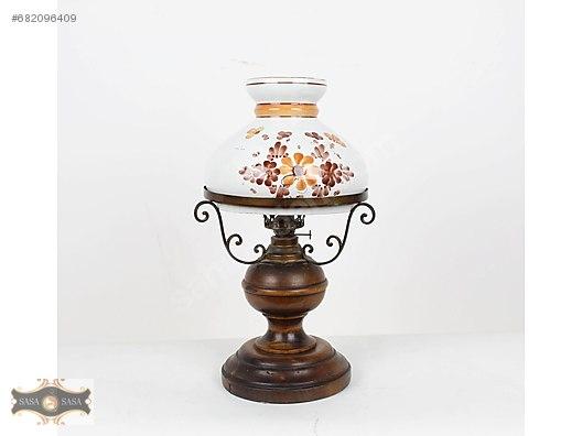 Antika El Boyama Porselen Başlik Gaz Lambasi Antika Abajur Ve