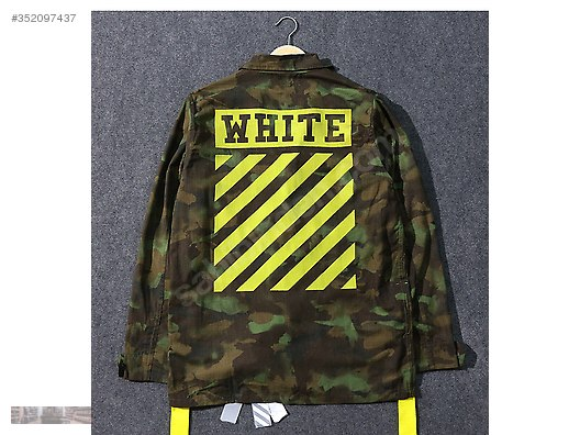 fee69710203c off white 16s limited camo yellow green letter striped coat
