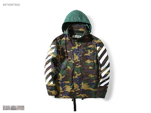 f82569c439ef OFF WHITE GREEN CAMO STRIPED LONG SLEEVED HOODED JACKET WT256