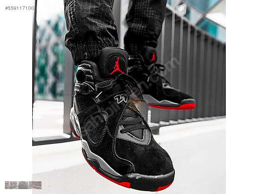 reputable site 1aaab ca1ed NIKE AIR JORDAN 8 RETRO BRED BLACK GYM RED WOLF GREY 305381 022