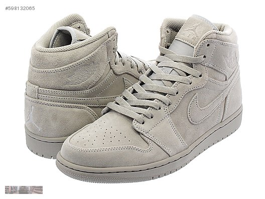 half off 487d7 f2ab3 NIKE AIR JORDAN 1 RETRO HIGH WOLF GREY SUEDE SNEAKER 332550 031