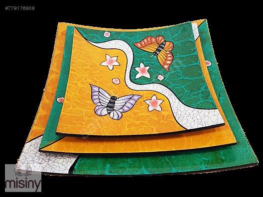 Misiny El Boyama 2 Renkli Kelebek Tabak Seti 3 Lu At Sahibinden