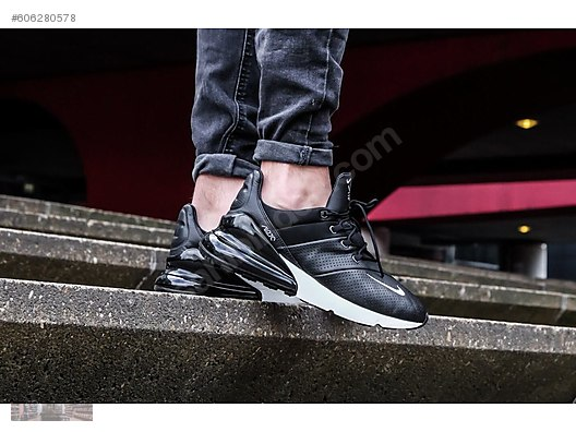 131d22ef8d NIKE AIR MAX 270 PREMIUM LEATHER BLACK WHITE AO8283 001