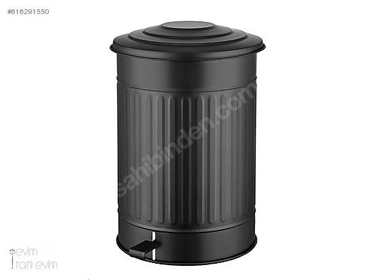Pedallı Büyük Boy Mat Siyah çöp Kovası 35 Litre çöp Kutusu