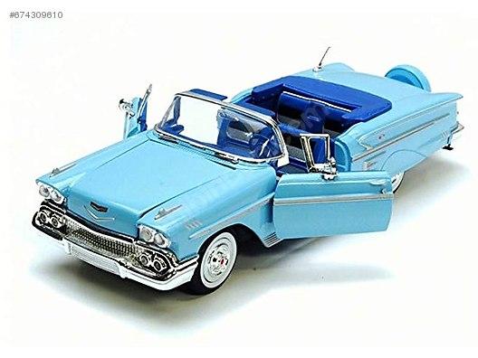 Motor Max 124 1958 Chevy Impala Mavi Diecast Model Araba