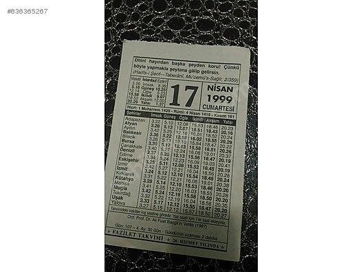 33 12 50 20 >> Calendar 17 Nisan 1999 Yiluna Ait Takvim Yapragi At Sahibinden Com