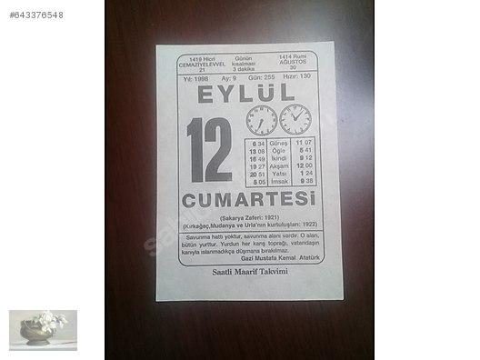 Calendar / 12 EYLÜL 1998 CUMARTESİ TAKVİM YAPRAĞI at