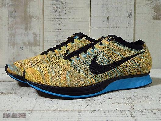 new style 07cdf 2fc36 Nike Flyknit Racer Sherbet Bright Citrus Blue Black 526628 800