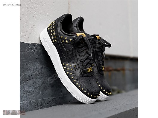 1aee70c041 NIKE AIR FORCE 1 STUDDED BLING BLACK OIL GOLD STAR TRAINERS 001