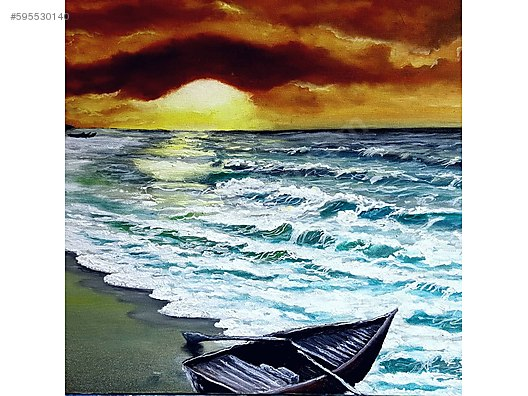 Akşam Gün Batımı Sahil Yağlı Boya Tablo At Sahibindencom 595530140