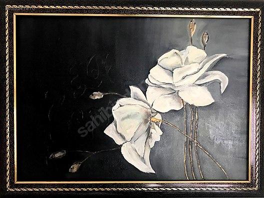 Beyaz Gul 50 70cm Yagli Boya Cerceveli Tablo At Sahibinden Com