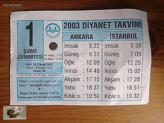 Calendar / 1 ŞUBAT 2003 TAKVİM YAPRAĞI at sahibinden
