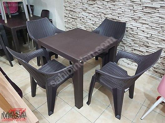 80x80 Plastik Rattan 1 Masa 4 Sandalye Bahce Cafe