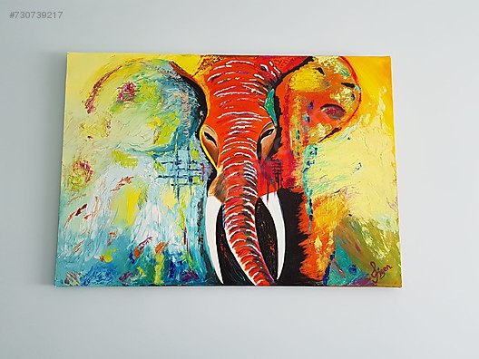Yagli Boya Tablo Fil Resmi Dekoratif Kanvas Tablolar