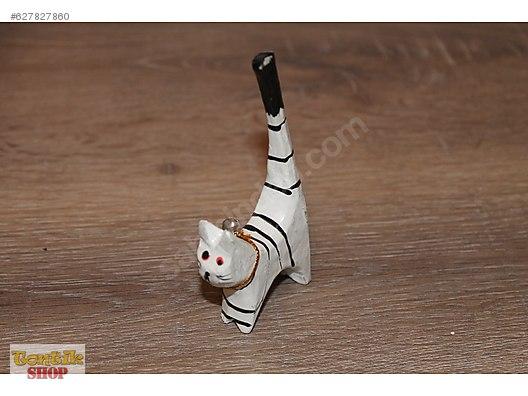 Ahşap 11 Cm Boyunda El Boyama Kedi Biblosu çok Dekoratif At