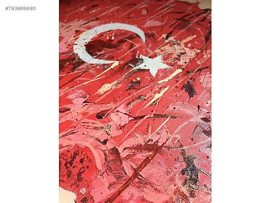 Turk Bayragi Yagli Boya Tablosu Tasarim Urun Dekoratif Kanvas