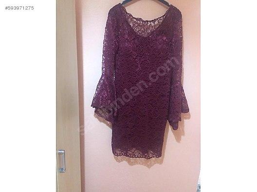 dda967d4705f3 Bordo dantel küpürlü diz üstü elbise - Özel Dikim Elbise Modelleri  sahibinden.com'da