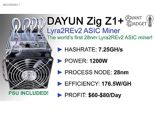 Dayun Zig Z1+ plus Asic Miner Lyra2Rev2 at sahibinden com